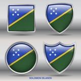 在4形状汇集的所罗门群岛旗子与裁减路线 免版税库存照片