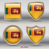 在4形状汇集的斯里兰卡旗子与裁减路线 库存图片