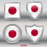 在4形状汇集的日本旗子与裁减路线 库存图片