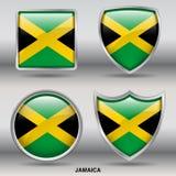 在4形状汇集的牙买加旗子与裁减路线 库存照片
