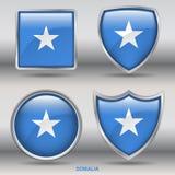 在4形状汇集的索马里旗子与裁减路线 图库摄影