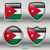 在4形状汇集的约旦旗子与裁减路线 库存照片