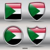 在4形状汇集的苏丹旗子与裁减路线 免版税库存照片
