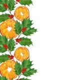在水彩技术的圣诞卡 霍莉分支和桔子 免版税库存照片