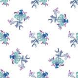 在水彩技术的美好的无缝的花卉样式 设计要素例证离开向量 免版税库存照片