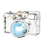 在水彩样式的减速火箭的照相机例证 库存图片