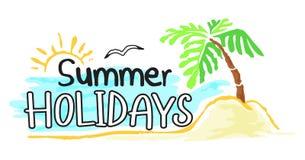 在水彩样式的暑假贴纸 皇族释放例证