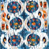 在水彩样式的Ikat无缝的漂泊种族样式 水彩东方人装饰品 免版税库存照片