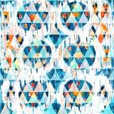 在水彩样式的Ikat无缝的漂泊种族样式 水彩东方人装饰品 库存图片