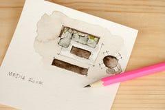 在水彩楼面布置图的铅笔 库存图片