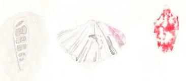 在水彩的三个贝壳 免版税库存图片