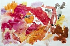 在水彩的儿童的绘画 库存图片