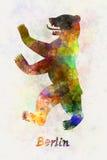 在水彩的柏林标志 免版税库存图片