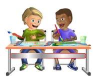 绘在水彩的2个男孩 图库摄影