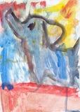 在水彩的婴孩大象 免版税库存图片