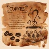 在水彩背景的咖啡杯 库存图片
