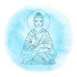 在水彩背景的坐的菩萨 也corel凹道例证向量 葡萄酒装饰构成 印地安人,佛教,精神主题 库存图片
