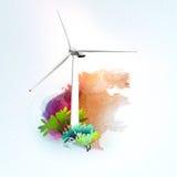 在水彩背景的风轮机 免版税库存图片