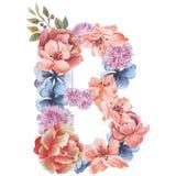 在水彩花,被隔绝手拉在白色背景,婚姻的设计上写字,英语字母表B  库存照片