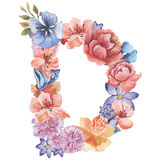 在水彩花,被隔绝手拉在白色背景,婚姻的设计上写字,英语字母表D  免版税库存照片