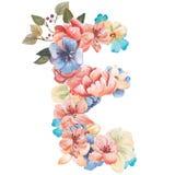 在水彩花,被隔绝手拉在白色背景,婚姻的设计上写字,英语字母表E  库存图片