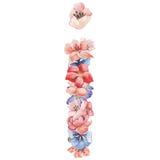 在水彩花,被隔绝手拉在白色背景,婚姻的设计上写字,英语字母表i  库存图片