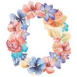 在水彩花,被隔绝手拉在白色背景,婚姻的设计上写字,英语字母表O  库存图片