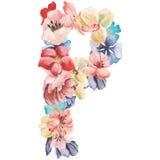 在水彩花,被隔绝手拉在白色背景,婚姻的设计上写字,英语字母表P  免版税图库摄影