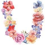 在水彩花,被隔绝手拉在白色背景,婚姻的设计上写字,英语字母表U  库存照片