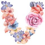 在水彩花,被隔绝手拉在白色背景,婚姻的设计上写字,英语字母表V  库存图片
