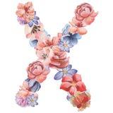 在水彩花,被隔绝手拉在白色背景,婚姻的设计上写字,英语字母表X  库存图片