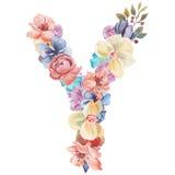 在水彩花,被隔绝手拉在白色背景,婚姻的设计上写字,英语字母表Y  库存图片