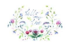 在水彩绘的春天花,你好星期一 库存图片