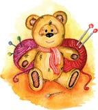 在水彩绘的熊 库存照片