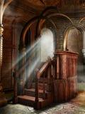 在幻想寺庙的讲演台 库存照片