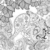 在幻想花的变色蜥蜴 免版税图库摄影