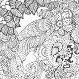 在幻想花的逗人喜爱的鹦鹉 库存图片