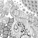 在幻想花的逗人喜爱的鹦鹉 免版税库存照片