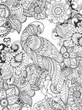 在幻想花的鹦鹉 免版税库存照片
