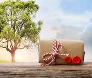 在幻想风景的手工制造礼物盒 免版税库存图片