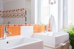 在洗手间的两个水盆 库存图片
