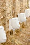 在洗手间设计的白色便壶乡下的 免版税库存照片