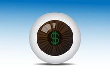 在寻找赢利的布朗眼睛的金钱 库存照片