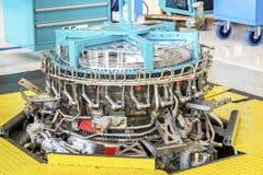 在维护期间的大飞机引擎 免版税图库摄影