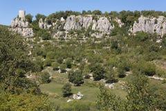 在巴拉聚克,法国(Ardeche区)附近的风景 免版税库存图片