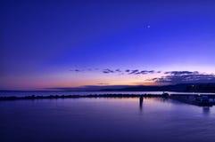 在巴拉顿湖的日落 免版税库存照片
