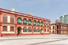 在轻拍Seac的老葡萄牙大厦在澳门摆正 库存图片