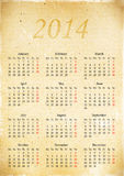 在2014年排进日程栅格在老葡萄酒纸, A3张  免版税库存图片
