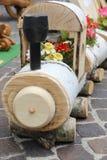 在绽放的木火车 免版税库存照片