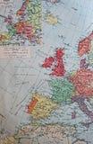在1914年政治边境的老1945地图 库存例证
